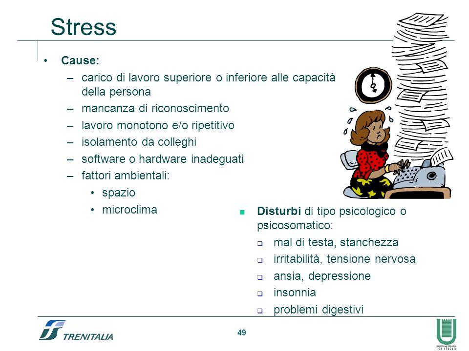 49 Stress Cause: –carico di lavoro superiore o inferiore alle capacità della persona –mancanza di riconoscimento –lavoro monotono e/o ripetitivo –isol