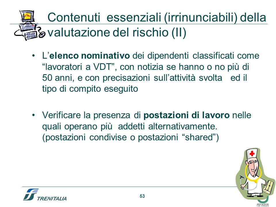53 Contenuti essenziali (irrinunciabili) della valutazione del rischio (II) Lelenco nominativo dei dipendenti classificati come lavoratori a VDT, con