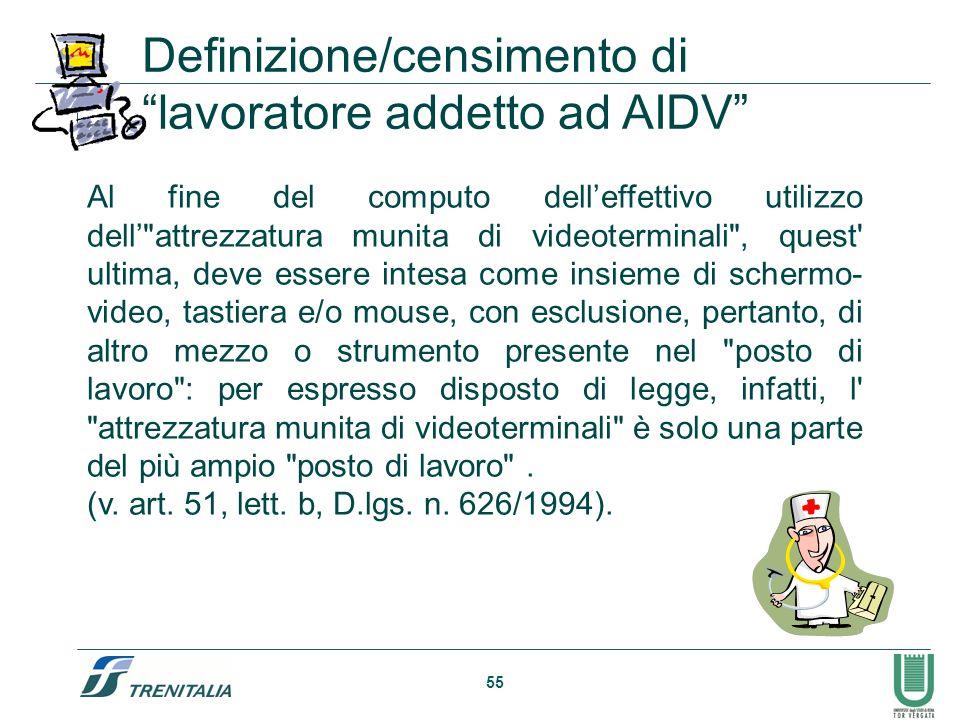 55 Definizione/censimento di lavoratore addetto ad AIDV Al fine del computo delleffettivo utilizzo dell