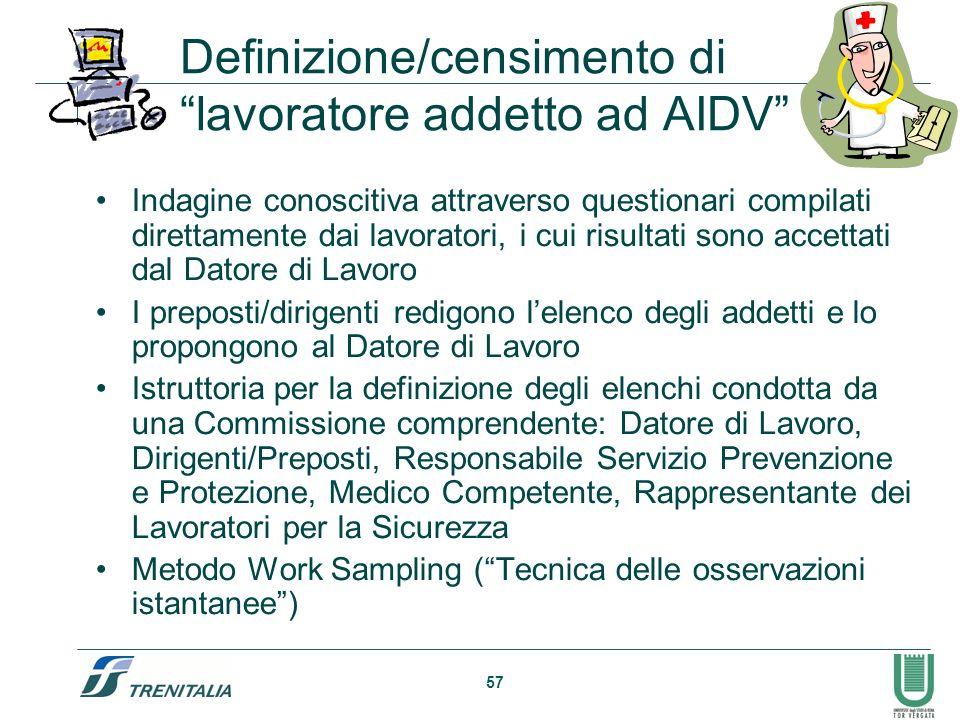 57 Definizione/censimento di lavoratore addetto ad AIDV Indagine conoscitiva attraverso questionari compilati direttamente dai lavoratori, i cui risul