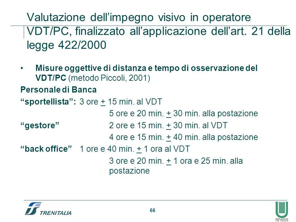 66 Valutazione dellimpegno visivo in operatore VDT/PC, finalizzato allapplicazione dellart. 21 della legge 422/2000 Misure oggettive di distanza e tem