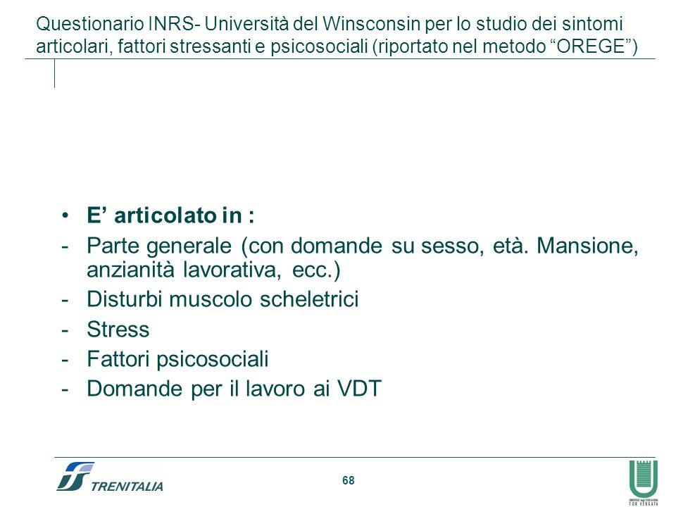 68 Questionario INRS- Università del Winsconsin per lo studio dei sintomi articolari, fattori stressanti e psicosociali (riportato nel metodo OREGE) E