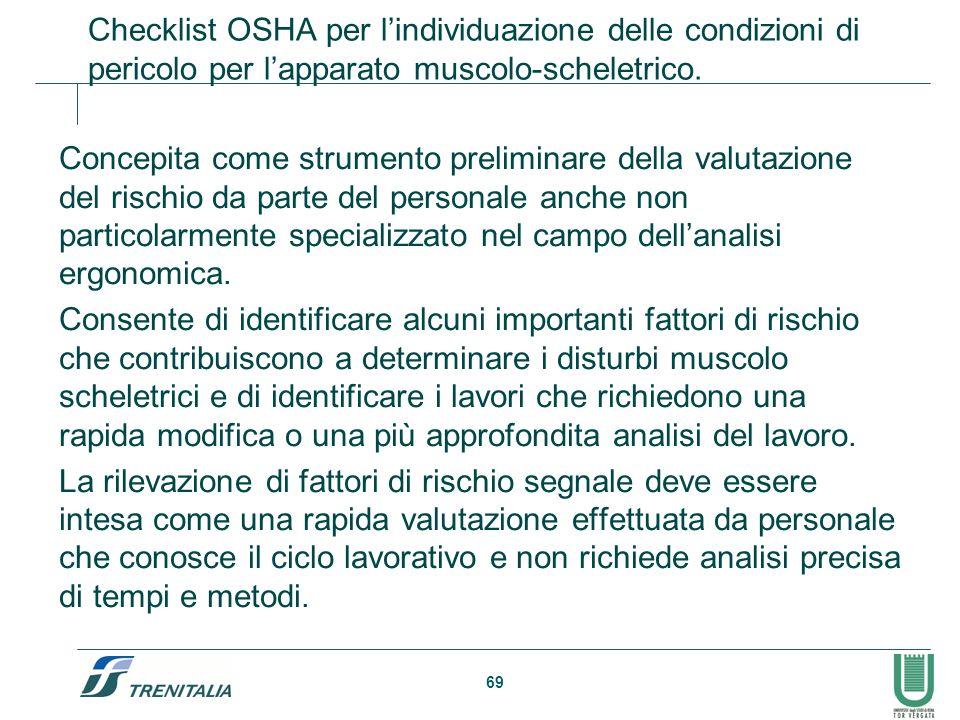 69 Checklist OSHA per lindividuazione delle condizioni di pericolo per lapparato muscolo-scheletrico. Concepita come strumento preliminare della valut