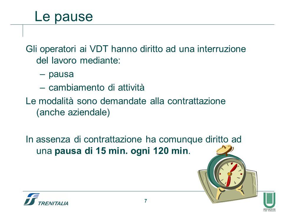7 Le pause Gli operatori ai VDT hanno diritto ad una interruzione del lavoro mediante: –pausa –cambiamento di attività Le modalità sono demandate alla