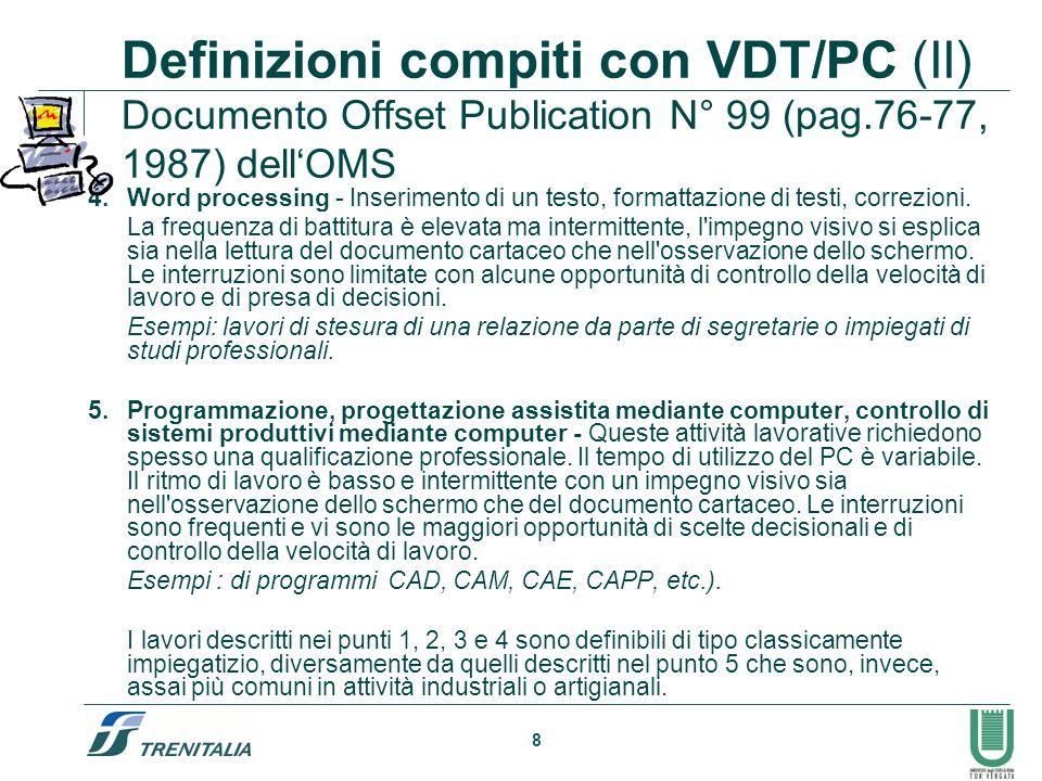 8 Definizioni compiti con VDT/PC (II) Documento Offset Publication N° 99 (pag.76-77, 1987) dellOMS Word processing - Inserimento di un testo, formatta