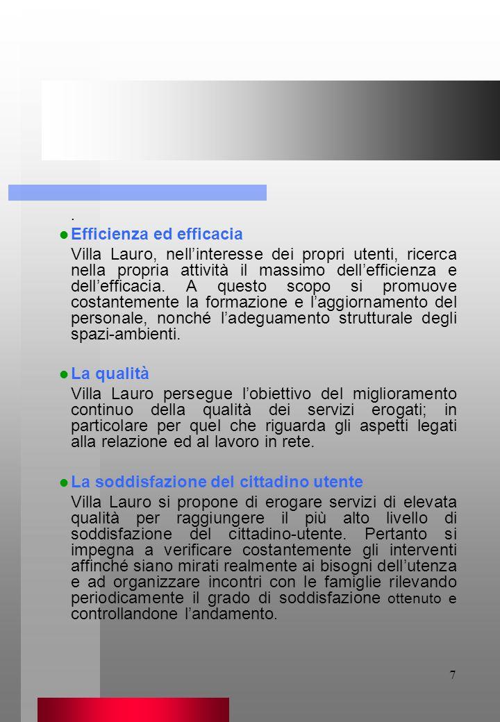 7. Efficienza ed efficacia Villa Lauro, nellinteresse dei propri utenti, ricerca nella propria attività il massimo dellefficienza e dellefficacia. A q
