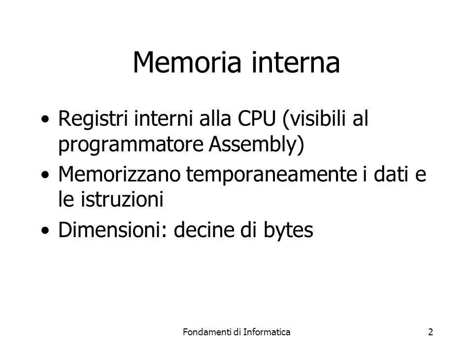Fondamenti di Informatica2 Memoria interna Registri interni alla CPU (visibili al programmatore Assembly) Memorizzano temporaneamente i dati e le istruzioni Dimensioni: decine di bytes