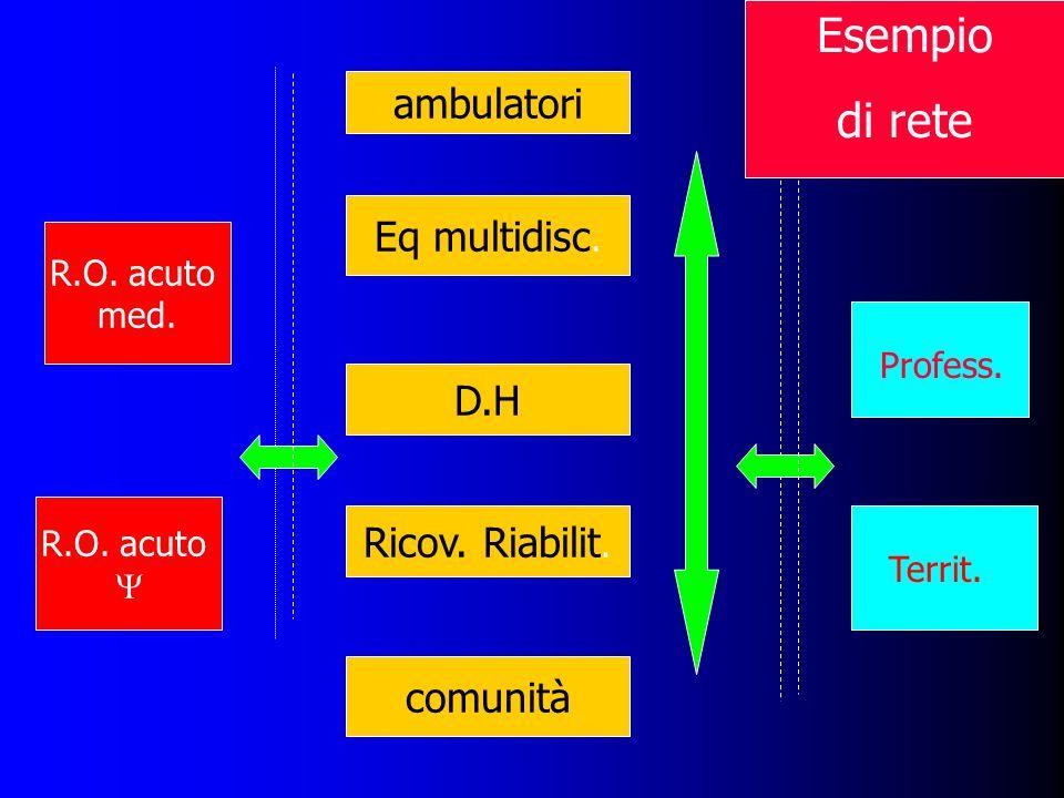 Eq multidisc. Ricov. Riabilit. comunità R.O. acuto med. R.O. acuto D.H Profess. Territ. ambulatori Esempio di rete