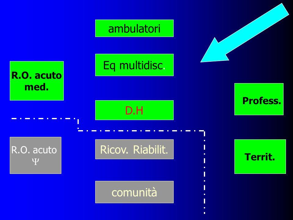 Eq multidisc. Ricov. Riabilit. comunità R.O. acuto med. R.O. acuto D.H Profess. Territ. ambulatori