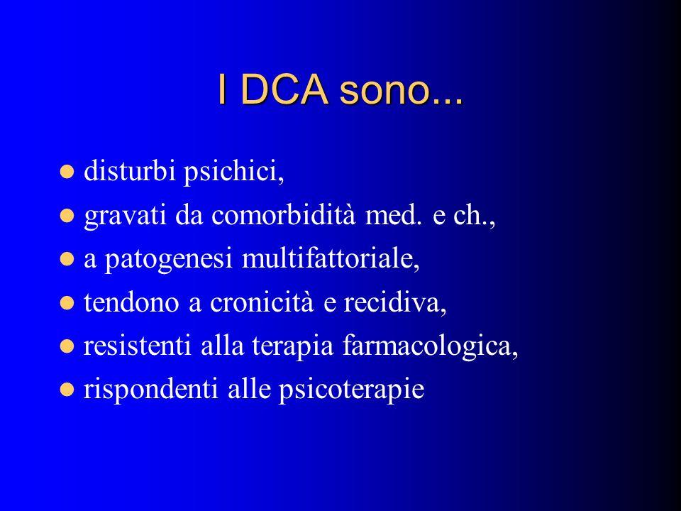 I DCA sono... disturbi psichici, gravati da comorbidità med. e ch., a patogenesi multifattoriale, tendono a cronicità e recidiva, resistenti alla tera