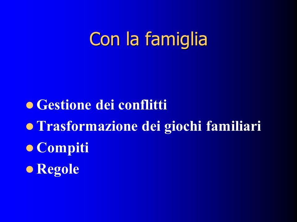 Con la famiglia Gestione dei conflitti Trasformazione dei giochi familiari Compiti Regole