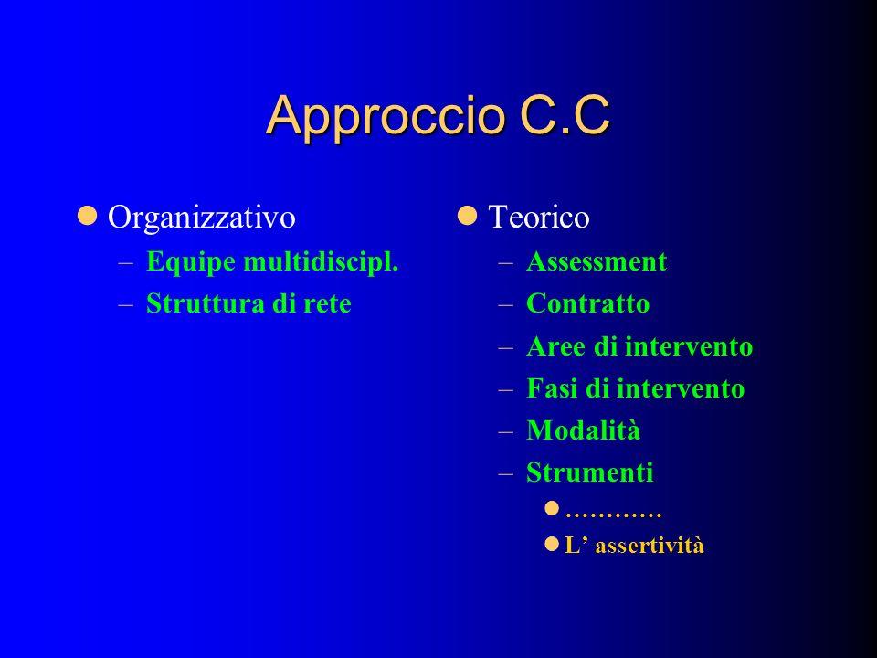 Approccio C.C Organizzativo –Equipe multidiscipl. –Struttura di rete Teorico –Assessment –Contratto –Aree di intervento –Fasi di intervento –Modalità