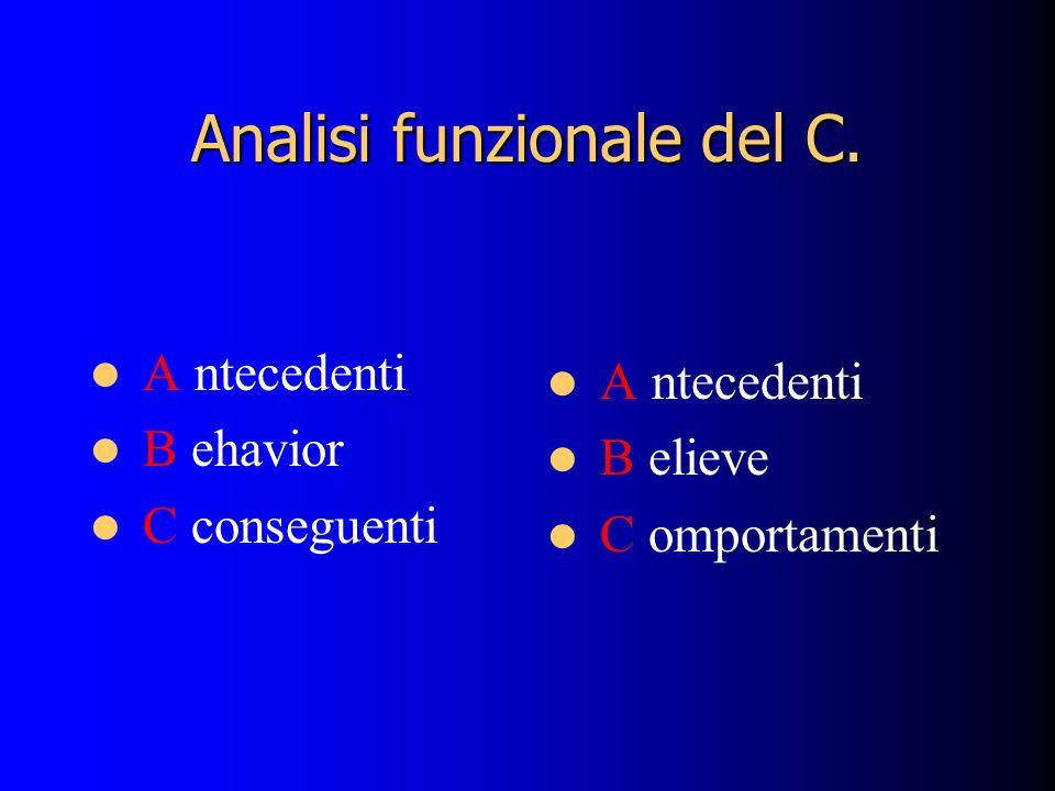 Analisi funzionale del C. A ntecedenti B ehavior C conseguenti A ntecedenti B elieve C omportamenti