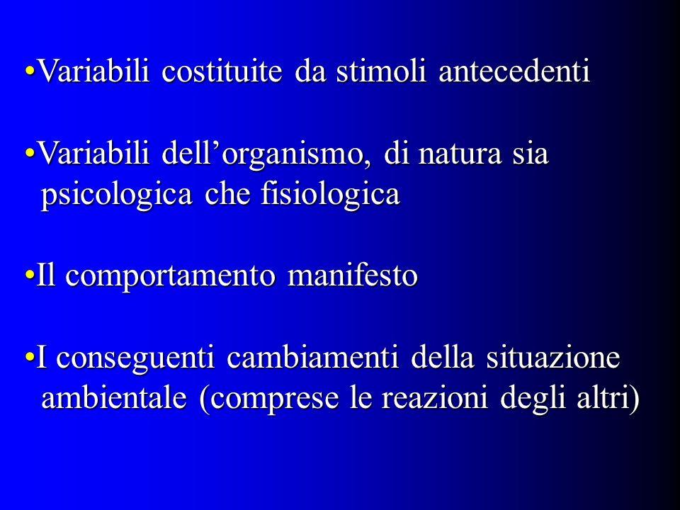 Variabili costituite da stimoli antecedentiVariabili costituite da stimoli antecedenti Variabili dellorganismo, di natura siaVariabili dellorganismo,