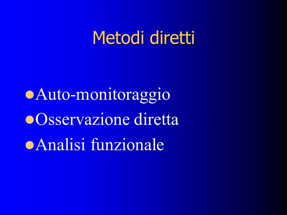 Metodi diretti Auto-monitoraggio Osservazione diretta Analisi funzionale