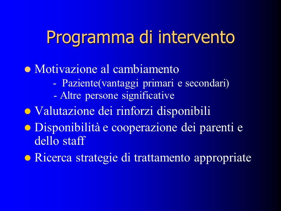 Programma di intervento Motivazione al cambiamento - Paziente(vantaggi primari e secondari) - Altre persone significative Valutazione dei rinforzi disponibili Disponibilità e cooperazione dei parenti e dello staff Ricerca strategie di trattamento appropriate