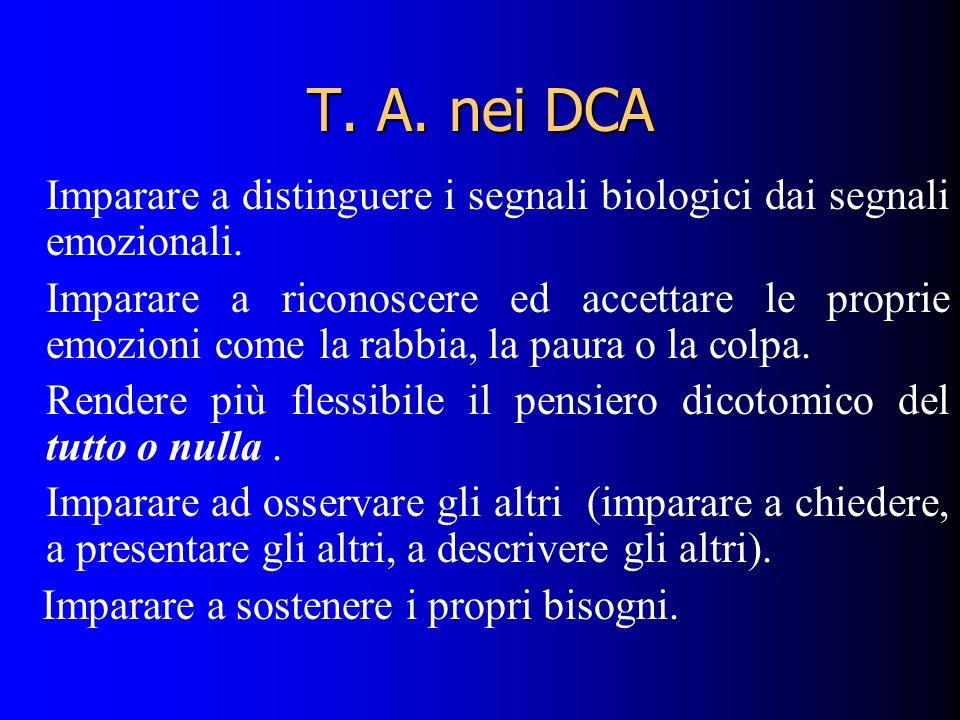 T.A. nei DCA Imparare a distinguere i segnali biologici dai segnali emozionali.