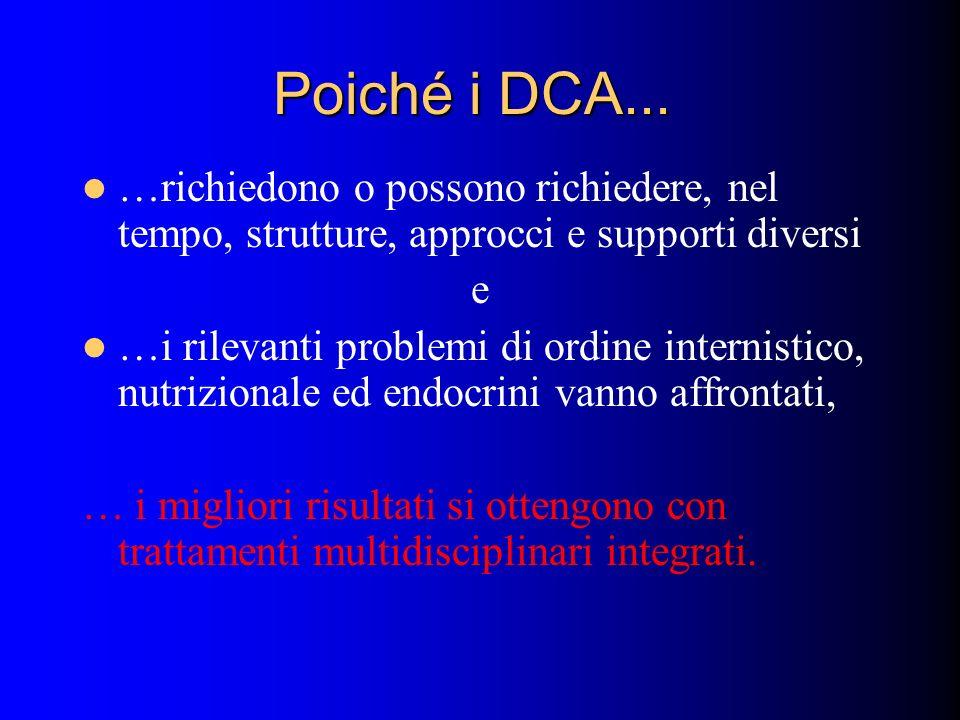 Poiché i DCA... …richiedono o possono richiedere, nel tempo, strutture, approcci e supporti diversi e …i rilevanti problemi di ordine internistico, nu