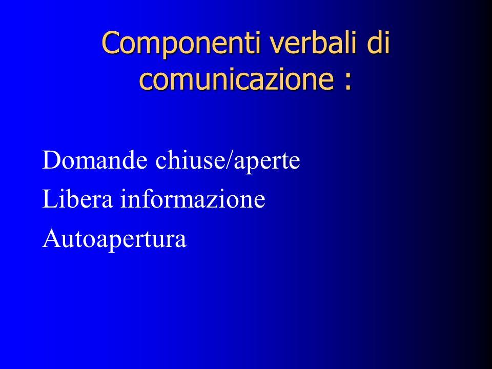 Componenti verbali di comunicazione : Domande chiuse/aperte Libera informazione Autoapertura