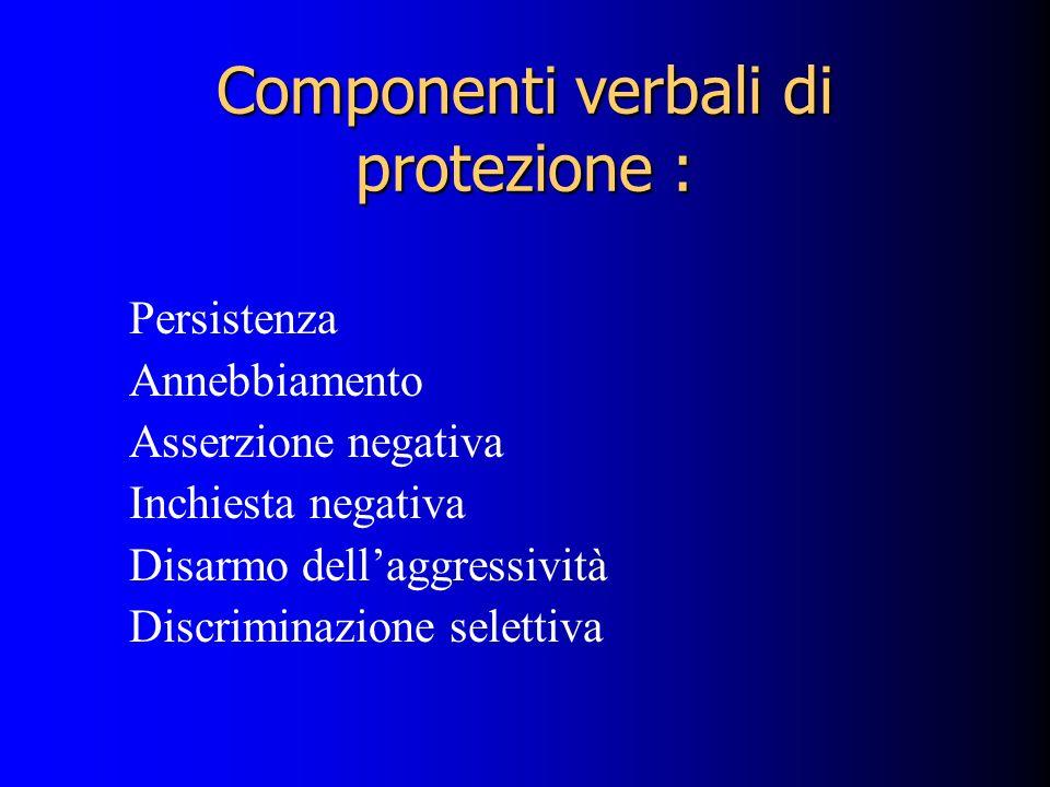 Componenti verbali di protezione : Persistenza Annebbiamento Asserzione negativa Inchiesta negativa Disarmo dellaggressività Discriminazione selettiva