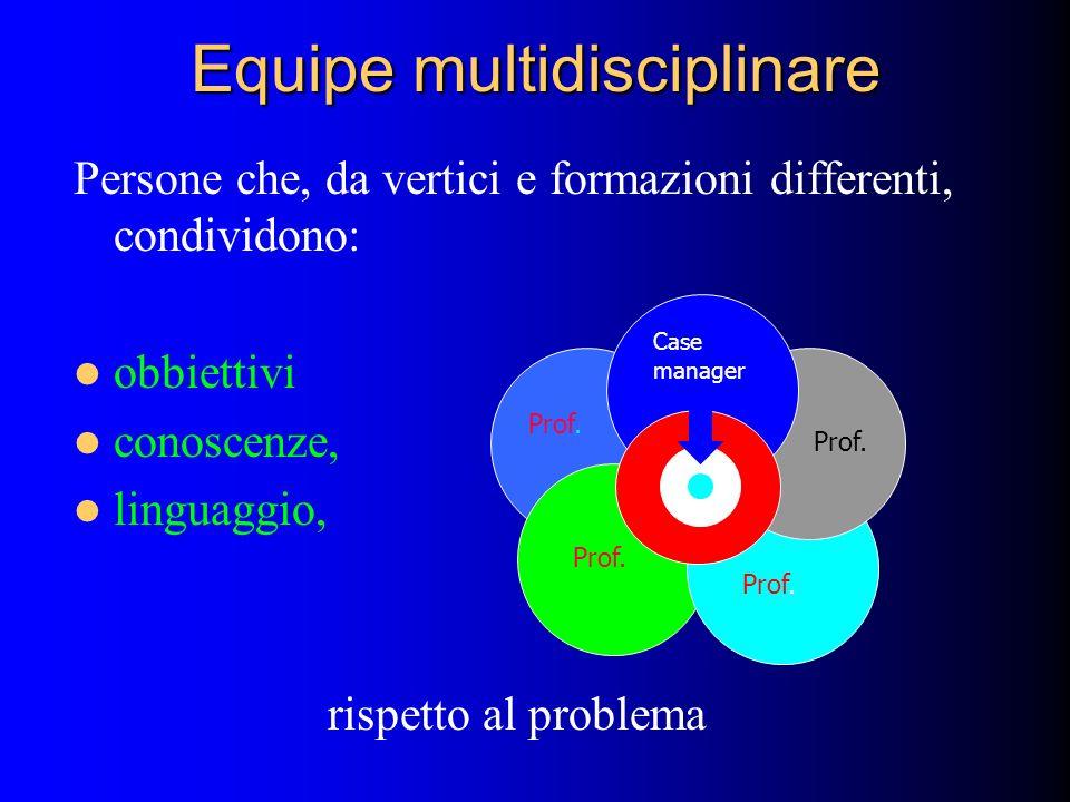 Equipe multidisciplinare Persone che, da vertici e formazioni differenti, condividono: obbiettivi conoscenze, linguaggio, rispetto al problema Prof. C