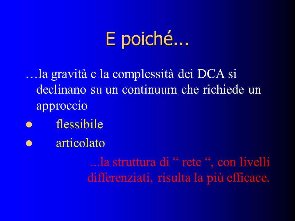 E poiché... …la gravità e la complessità dei DCA si declinano su un continuum che richiede un approccio flessibile articolato...la struttura di rete,