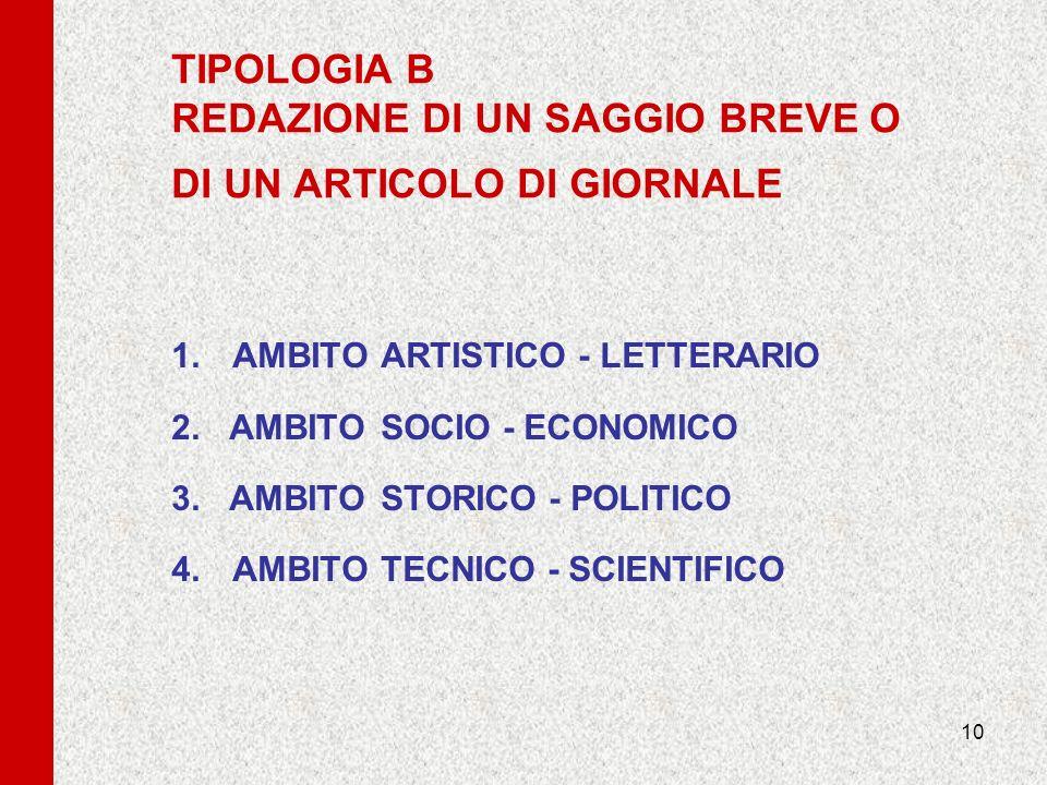10 TIPOLOGIA B REDAZIONE DI UN SAGGIO BREVE O DI UN ARTICOLO DI GIORNALE 1.AMBITOARTISTICO - LETTERARIO 2. AMBITOSOCIO - ECONOMICO 3. AMBITOSTORICO -