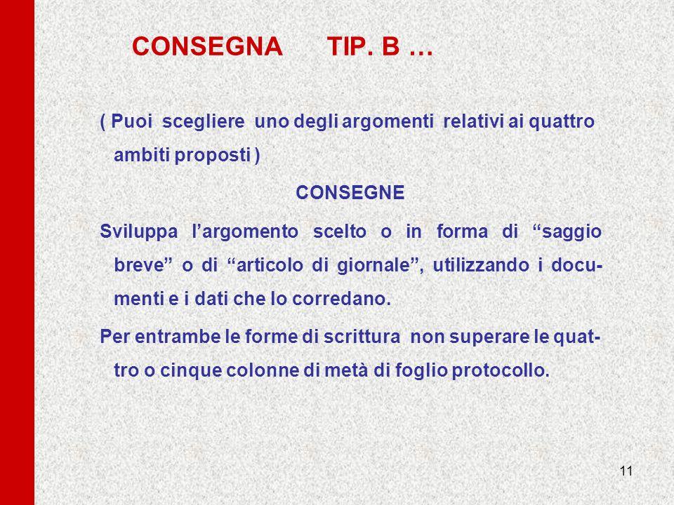 11 CONSEGNA TIP. B … ( Puoi scegliere uno degli argomenti relativi ai quattro ambiti proposti ) CONSEGNE Sviluppa largomento scelto o in forma di sagg