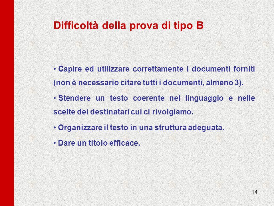 14 Difficoltà della prova di tipo B Capire ed utilizzare correttamente i documenti forniti (non è necessario citare tutti i documenti, almeno 3). Sten
