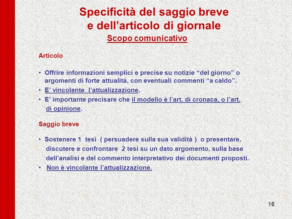 16 Specificità del saggio breve e dellarticolo di giornale Scopo comunicativo Articolo Offrire informazioni semplici e precise su notizie del giorno o