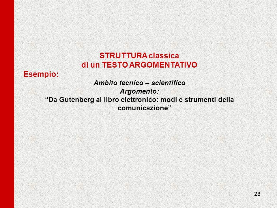 28 STRUTTURA classica di un TESTO ARGOMENTATIVO Esempio: Ambito tecnico – scientifico Argomento: Da Gutenberg al libro elettronico: modi e strumenti d