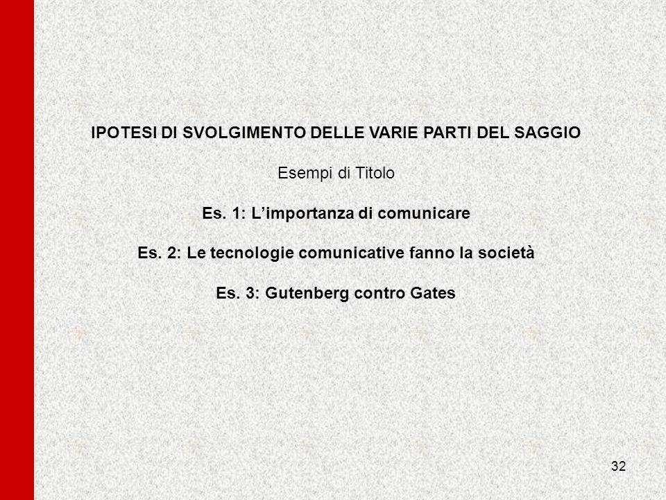 32 IPOTESI DI SVOLGIMENTO DELLE VARIE PARTI DEL SAGGIO Esempi di Titolo Es. 1: Limportanza di comunicare Es. 2: Le tecnologie comunicative fanno la so