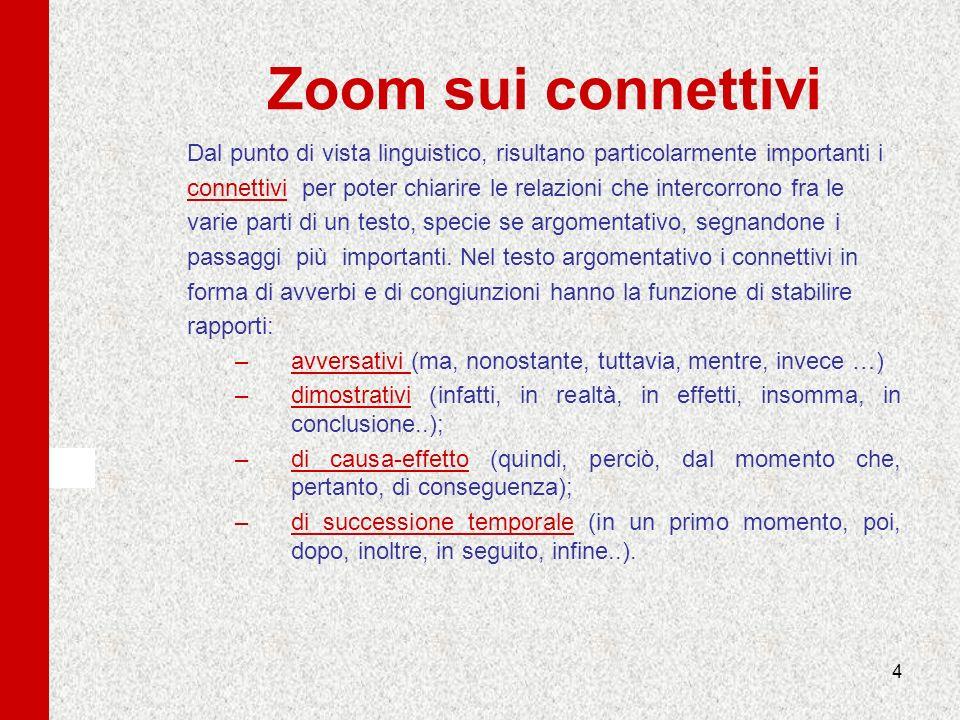 4 Zoom sui connettivi Dal punto di vista linguistico, risultano particolarmente importanti i connettivi per poter chiarire le relazioni che intercorro