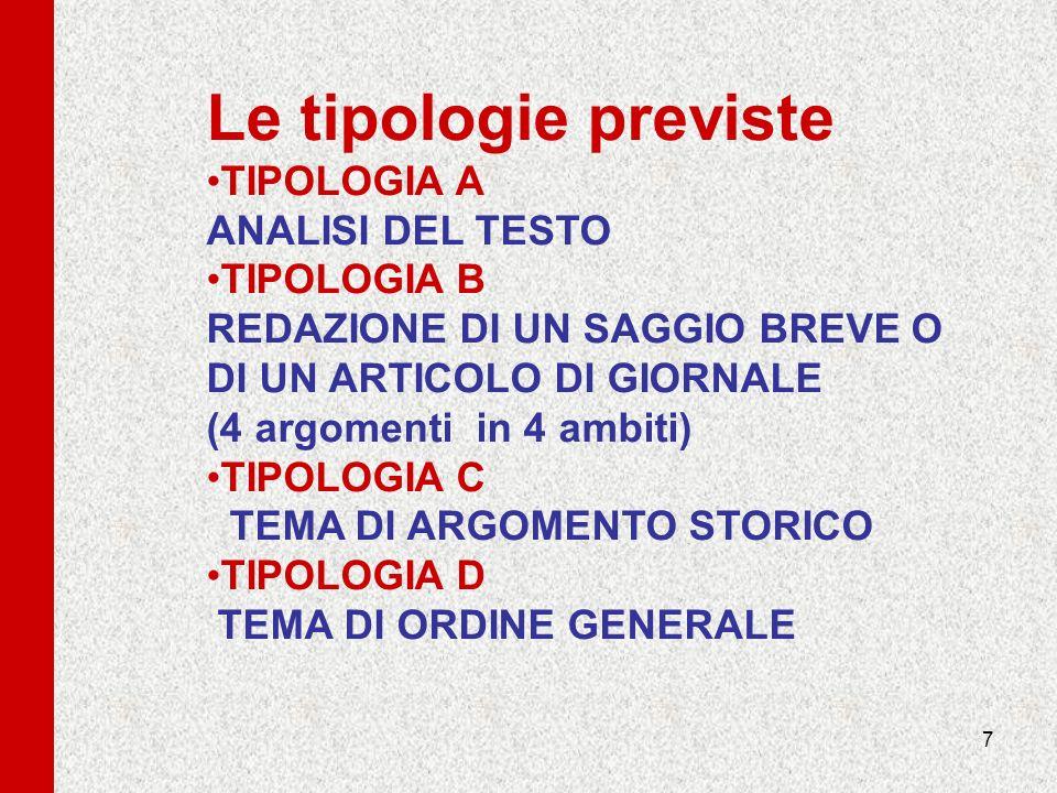 7 Le tipologie previste TIPOLOGIA A ANALISI DEL TESTO TIPOLOGIA B REDAZIONE DI UN SAGGIO BREVE O DI UN ARTICOLO DI GIORNALE (4 argomenti in 4 ambiti)