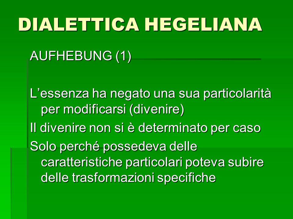 DIALETTICA HEGELIANA AUFHEBUNG (1) Lessenza ha negato una sua particolarità per modificarsi (divenire) Il divenire non si è determinato per caso Solo