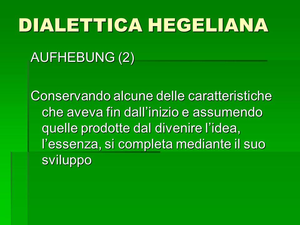 DIALETTICA HEGELIANA AUFHEBUNG (2) Conservando alcune delle caratteristiche che aveva fin dallinizio e assumendo quelle prodotte dal divenire lidea, l