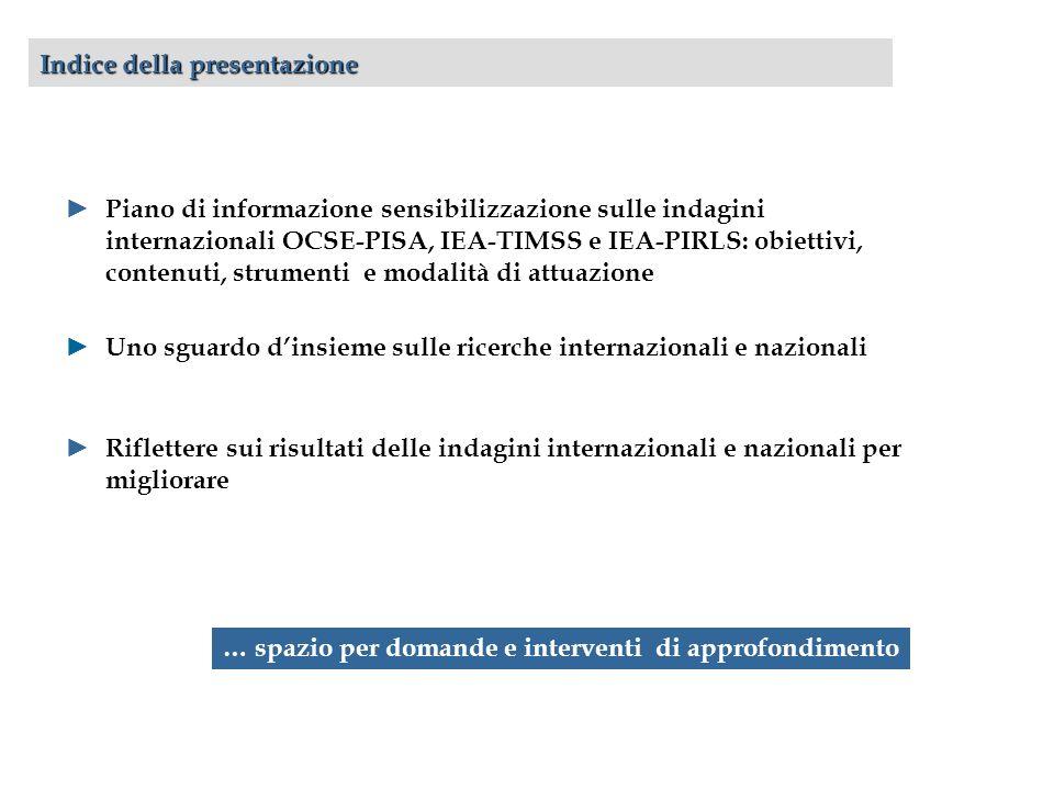 Indice della presentazione Piano di informazione sensibilizzazione sulle indagini internazionali OCSE-PISA, IEA-TIMSS e IEA-PIRLS: obiettivi, contenuti, strumenti e modalità di attuazione Uno sguardo dinsieme sulle ricerche internazionali e nazionali Riflettere sui risultati delle indagini internazionali e nazionali per migliorare … spazio per domande e interventi di approfondimento