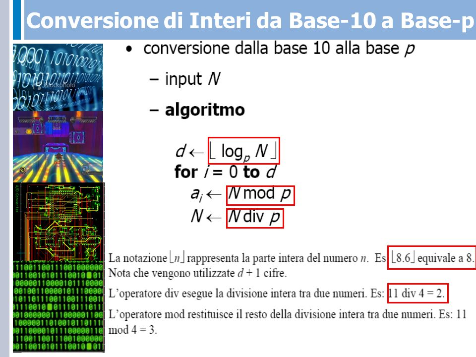 Conversione del numero N=87 dalla base-10 alla base-2 6+1 = Numero di bit necessari per codificare N 0 000000.