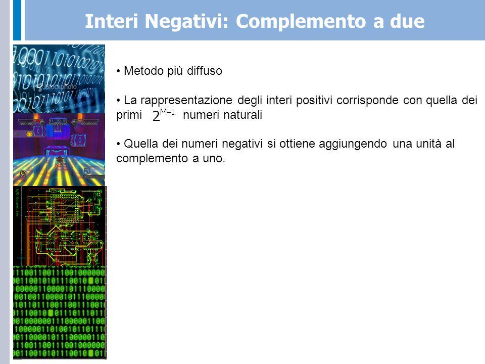 Interi Negativi: Complemento a due Complemento a uno Complemento a due