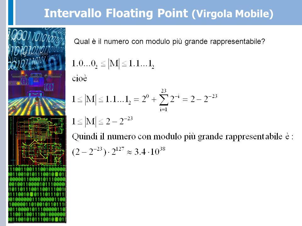 Intervallo Floating Point (Virgola Mobile) Qual è il numero con modulo più piccolo rappresentabile.