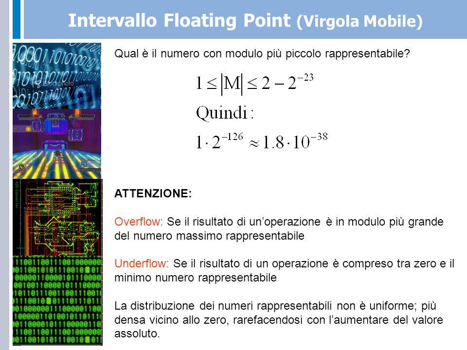 Floating Point (Virgola Mobile) Single Precision: E: 8 bit (eccesso 127), M: 23 bit (normalizzata), S=1 bit 32 bit Double Precision: E: 11 bit (eccesso 1023), M: 52 bit (normalizzata), S=1 bit 64 bit Quadruple Precision: E: 15 bit (eccesso 32767), M: 112 bit (normalizzata), S=1 bit 128 bit