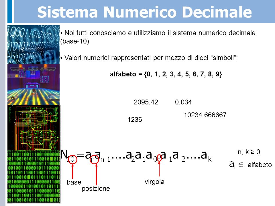 Notazione Posizionale in Base-10 n, b 0alfabetob = base-10