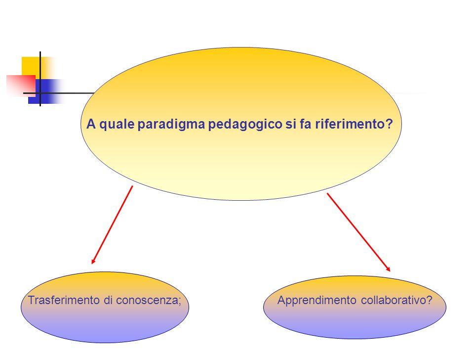 A quale paradigma pedagogico si fa riferimento.