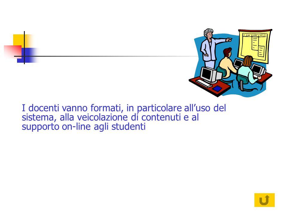 I docenti vanno formati, in particolare alluso del sistema, alla veicolazione di contenuti e al supporto on-line agli studenti
