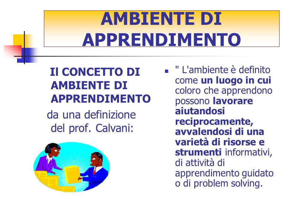 Il CONCETTO DI AMBIENTE DI APPRENDIMENTO da una definizione del prof.