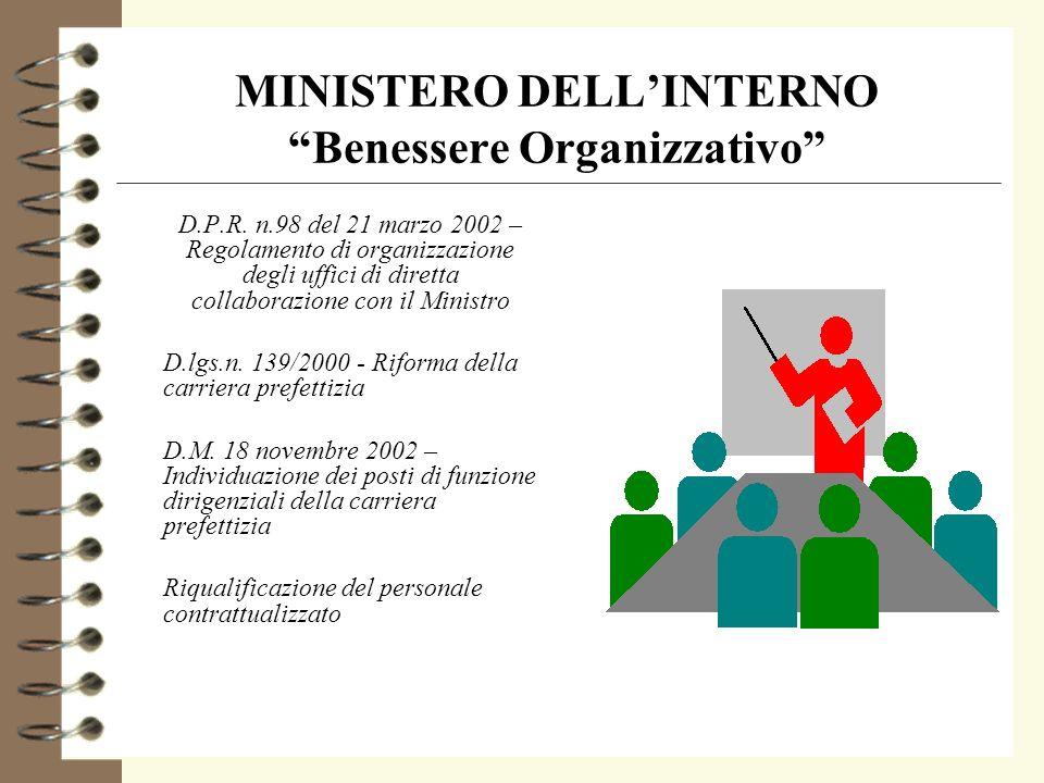 MINISTERO DELLINTERNO Benessere Organizzativo 4 Organizzazione gerarchico funzionale 4 Organizzazione per processi e per progetti