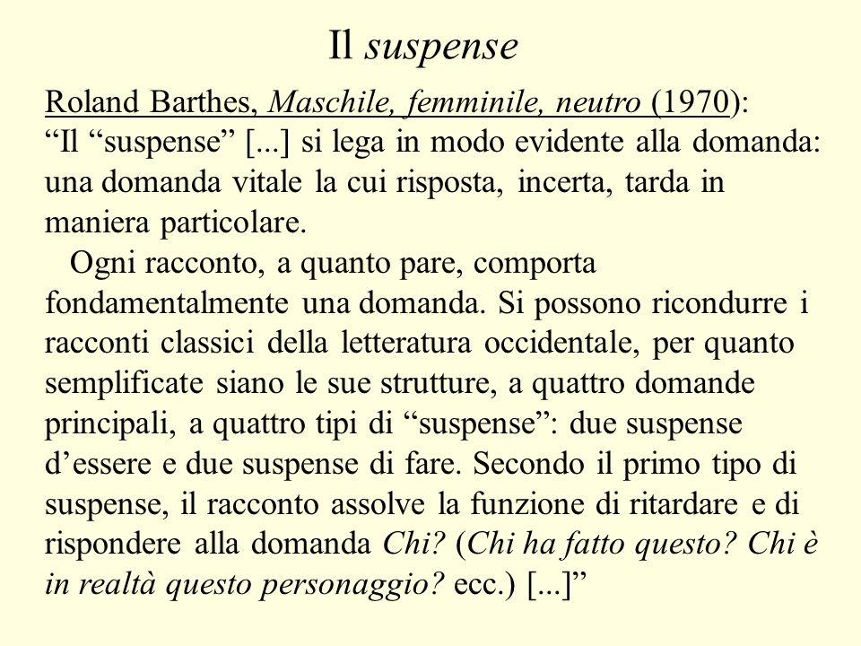 Il suspense Il secondo tipo di suspense è più raro: il problema non è quello di identificare il nome proprio dello sconosciuto, ma – se così possiamo dire – il suo nome di specie, il suo nome comune: Chi diviene Che cosa.