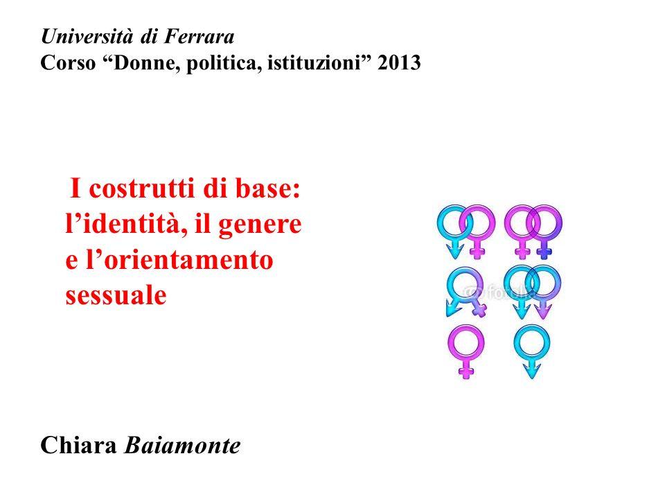 Università di Ferrara Corso Donne, politica, istituzioni 2013 I costrutti di base: lidentità, il genere e lorientamento sessuale Chiara Baiamonte