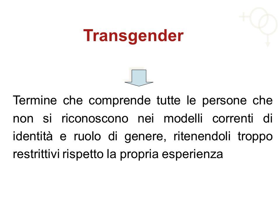Transgender Termine che comprende tutte le persone che non si riconoscono nei modelli correnti di identità e ruolo di genere, ritenendoli troppo restr