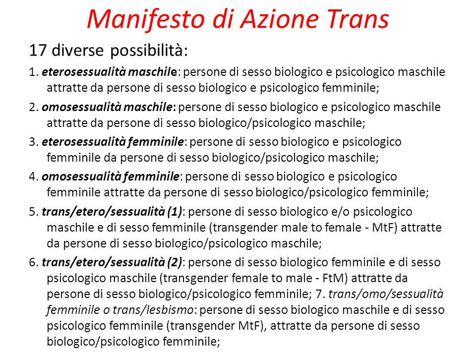 Manifesto di Azione Trans 17 diverse possibilità: 1. eterosessualità maschile: persone di sesso biologico e psicologico maschile attratte da persone d
